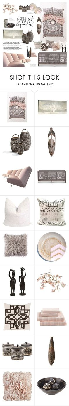 """Feminine Tribal Decor"" by happilyjynxed ❤ liked on Polyvore featuring interior, interiors, interior design, home, home decor, interior decorating, Magical Thinking, NOVICA, Artifort and Canopy Designs"