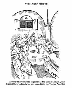 vintage sunday school lesson cards | This Easter Bible coloring page shows Jesus and the Apostles at The ...
