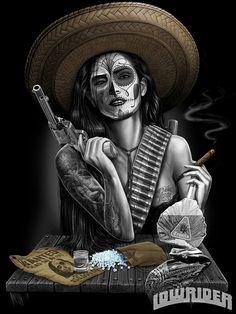 La Vida Loca T-Shirt Men's Black by David Gonzales Art at Inked Boutique. Double-needle bottom hem and sleeves. Shoulder-to-shoulder tape. Preshrunk to minimize shrinkage. Lowrider Art, Tattoo Chicana, Catrina Tattoo, Totenkopf Tattoos, Kunst Tattoos, Sugar Skull Art, Sugar Skulls, Desenho Tattoo, Mexican Art
