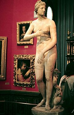 The Medici Venus, a first century BC Roman work, was first displayed in Rome's Villa Medici until moved to Florence in 1677.  During the 18th Century, it became one of the most esteemed classical sculptures & considered a central piece at the Uffizi, the high-point of the Grand Tour.  Although it's reputation has diminished somewhat since then, it can still be viewed in the same room today, as the one depicted in the 1772 painting of British visitors in the Uffizi, also pinned to this board.