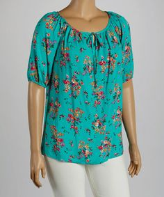 Loving this Turquoise Floral Peasant Top - Plus on #zulily! #zulilyfinds