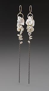 """""""Pearl Cluster Earrings"""" Gold, Silver, & Pearl Earrings by Peg Fetter $300"""