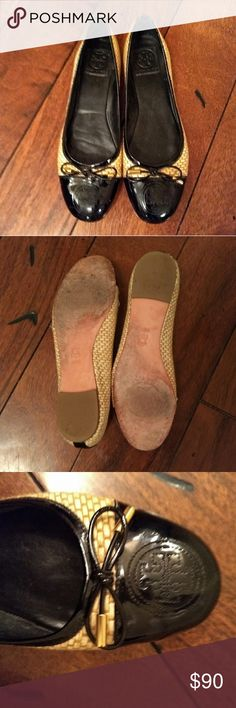 655425f27341c6 Tory Burch Patent Leather and Woven Straw Flats Tory Burch woven straw  flats with black patent