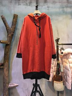Casual Style Letter Print Corduroy Matching Korean Long Hoodie Winter Hooded Dress  #hoodie #dress #red #corduroy #casual #Korean #fashion