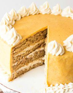 Spice Cake with Cinnamon Cream Cheese and Pumpkin Buttercream - Tornadough Alli Pumpkin Spice Cake, Cheese Pumpkin, Flat Cakes, Fall Baking, Holiday Baking, Christmas Baking, Buttercream Recipe, Cinnamon Cream Cheeses, Stick Of Butter