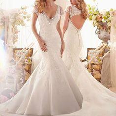 Free shipping,TulleV-neck Lace Mermaid Wedding Dress 2014 short Sleeve Natural Waistline Zipper Back