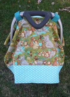 Baby Animals teal polka dot chevron infant car seat by BBsBanners