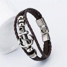 Wholesale Fashion Charm Leather Tom Hope Anchor Men's Bracelets Hot Bangle Handmade Leather Bracelets Hooks Men's Bracelets ! - coffee