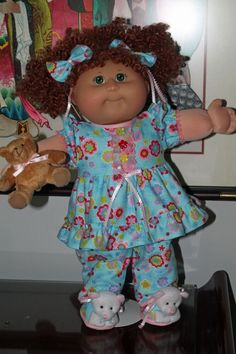 """Cabbage Patch Doll Cloths - Blue flannelette PJ's and Teddy Slippers -  20"""" doll…"""