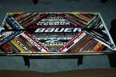 Hockey stick coffee table for my future son who has no choice if he wants to play or not..