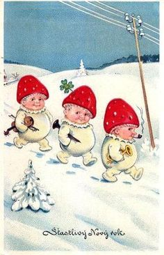 New Year Snow Children as  Mushrooms and pipe smokers
