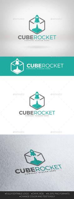 Cube Rocket Logo — Vector EPS #flat #hexa • Available here → https://graphicriver.net/item/cube-rocket-logo/12376023?ref=pxcr