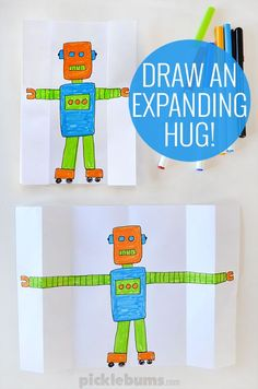 Draw an expanding hug!  This fun hug drawing would be great as a birthday card or for mothers day!