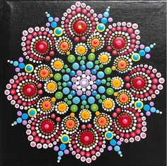 Mandala Painting on Black - Fiesta Colors...