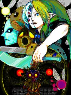 THis is one AWESOME Majora's Mask fan art. And I love what the artist did with Link and Fierce Deity, portraying each as half of one.