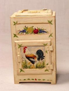 Artisan French Country Icebox w Handpainted Rooster Dollhouse Miniatures