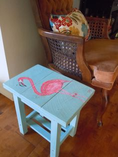 Pink Flamingo Solid Wood Patio Table Side by SaintElsewherePlace