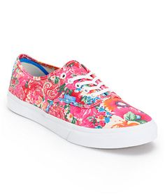 #Vans Girls Authentic Slim Pink & White Floral Print Shoe | Classic look with a feminine twist