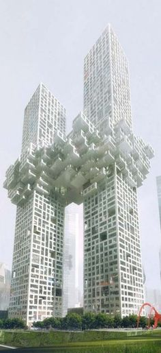 The Cloud Towers, Yongsan Dreamhub, Seoul, Korea by MVRDV Architects :: 60 and 54 floors, height 300m and 260m