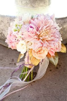 Cafe au Lait Dahlias are big, beautiful, and in season for summer weddings!  #wedding #flowers #dahlias