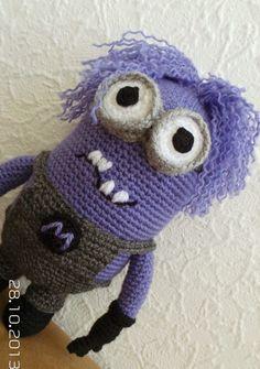 Purpule Minion Crochet amigurumi doll toy