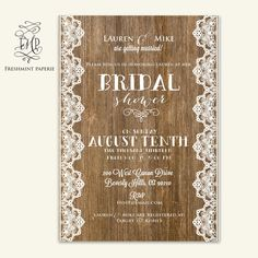 bridal shower Invitation  rustic invitation   by FreshmintPaperie, $19.50