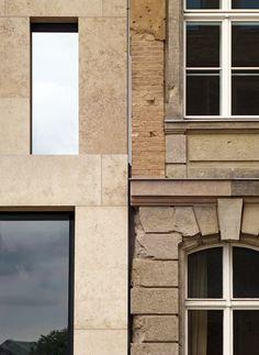 Jacob und Wilhelm Grimm Zenter, Berlin, by Max Dudler Brick Architecture, Historical Architecture, Contemporary Architecture, Architecture Details, Interior Architecture, Interior And Exterior, Stone Facade, Window View, Brick And Stone