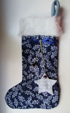 Nikolausstiefel klein Misteln blau silber  http://de.dawanda.com/product/73455611-Nikolausstiefel-klein-Misteln-blau-silber