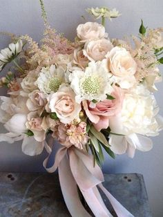 bouquet of ivory peonies blush spray roses white scabiosa jasmine vine pale - Bridal Flowers Bridal Flowers, Flower Bouquet Wedding, Floral Wedding, Pastel Bouquet, Blush Bouquet, Bride Bouquets, Floral Bouquets, Flower Decorations, Wedding Decorations