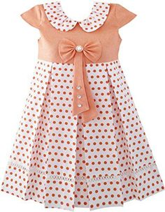 Girls Dress Polka Dot School Bow Tie Pearl Cap Sleeve Size Years Great quaility school uniform with bow tie and pearl. Perfect for your little girls' and big girls' back to school party and everday wearing. Frocks For Girls, Dresses Kids Girl, Kids Outfits, Frocks For Babies, Vintage Girls Dresses, Girls Frock Design, Baby Dress Design, Dress Designs For Girls, Baby Design
