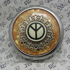 Compact Mirror Peace Sign Compact Mirror Orange Compact Mirror Hippy Mirror Far Out Mirror Groovy Mirror Comes With Protective Pouch