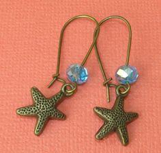 Starfish Sea Star Charm Kidney Hook Earrings by BusyBeeBumbleBeads