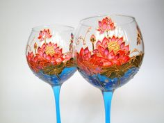 Lotus wine glasses Hand painted polymer clay lotus Floral gift for Mom bridesmaid glasses Birthday gift for her Water lilies wine glasses Bridesmaid Glasses, Wedding Glasses, Lotus, Personalized Wine Glasses, Personalised Wine, Hand Painted Wine Glasses, Birthday Gifts For Her, Birthday Presents, Garden Gifts