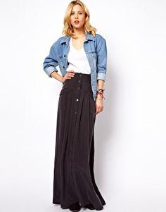FOUND: Mango Button Maxi Skirt another paris outfil