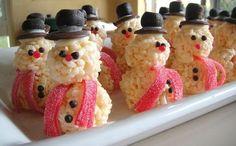 snowmen rice krispies treats