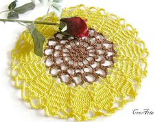 Crochet Sunflower Doily Crochet Yellow and Brown by CreArtebyPatty