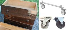 Use old dresser drawer and wheels to make under bed storage