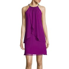 SL Fashions Sleeveless Tiered Halter Dress ($65) ❤ liked on Polyvore featuring dresses, purple sleeveless dress, halter neckline dress, rhinestone dress, sleeveless halter dress and purple halter dress