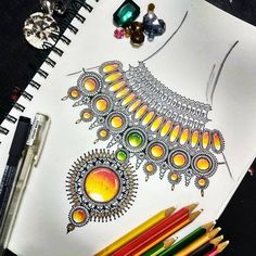 """223 Likes, 14 Comments - Zareen Taj Hidhayath (@zareensart) on Instagram: """"Mandala jewellery ❤My first take on designing jewellery and drawing gems😊Got no idea how this would…"""""""