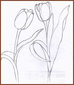 Tulip Drawing, Flower Art Drawing, Tulip Painting, Book Drawing, Watercolor Drawing, Watercolor Flowers, Painting & Drawing, Flower Outline, Outline Art