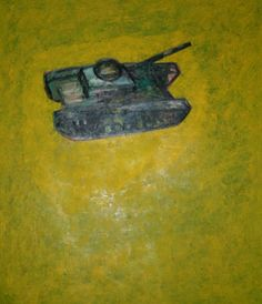 Tank | 120 x 140 cm, Oil on canvas, 2007 | Medium: Painting | Abdul Rahim Sharif, Origin: Bahrain, Born in: Bahrain | Barjeel Art Foundation Peripheral Vision, Model One, Out Of Focus, Strike A Pose, Oil On Canvas, Foundation, Artist, Painting, Painting Art