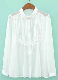 White Lapel Long Sleeve Embroidered Loose Blouse