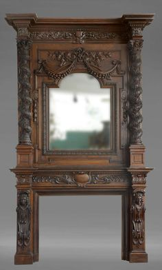 Monumental Antique French Figural Fireplace | From a unique collection of antique and modern fireplaces and mantels at https://www.1stdibs.com/furniture/building-garden/fireplaces-mantels/