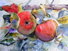 Unsere verkauften Bilder 2012 | Anfang Oktober (c) Aquarell von Hanka Koebsch #apples #Äpfel #Watercolor #Aquarell