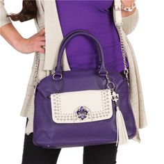 Leather Taylor in grape with Paige clutch in Stone. See more beautiful purses and accessories on my website at www.eyecandy.graceadele.us
