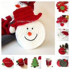 Crochet Colorful: Thinking of Christmas Crochet Coasters Snowman