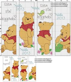Cross-stitch Pooh Bear Bookmarks... no color chart available, just use pattern chart as your color guide.. or choose your own colors...    KUBUŚ ZAKŁADKI