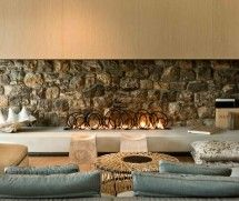 Stone Fireplace - Modern Interiors