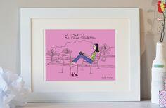 Illustration de Paris Chut, un ange sur Paris, Paris art, affiche de Paris, Paris print, impression numérique des toits de Paris by Sandra