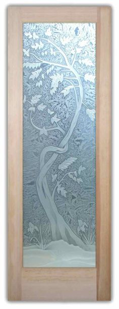 Interior Glass door - Cherry Tree 3D Carved Etched Glass Door - CUSTOMIZE YOUR INTERIOR GLASS DOOR!  Interior glass doors or glass door inserts.  Brighten the look with a beautiful interior glass door featuring a custom frosted glass door design by Sans Soucie!  Choose from the highest quality and largest selection of frosted decorative glass interior doors and door glass available anywhere.